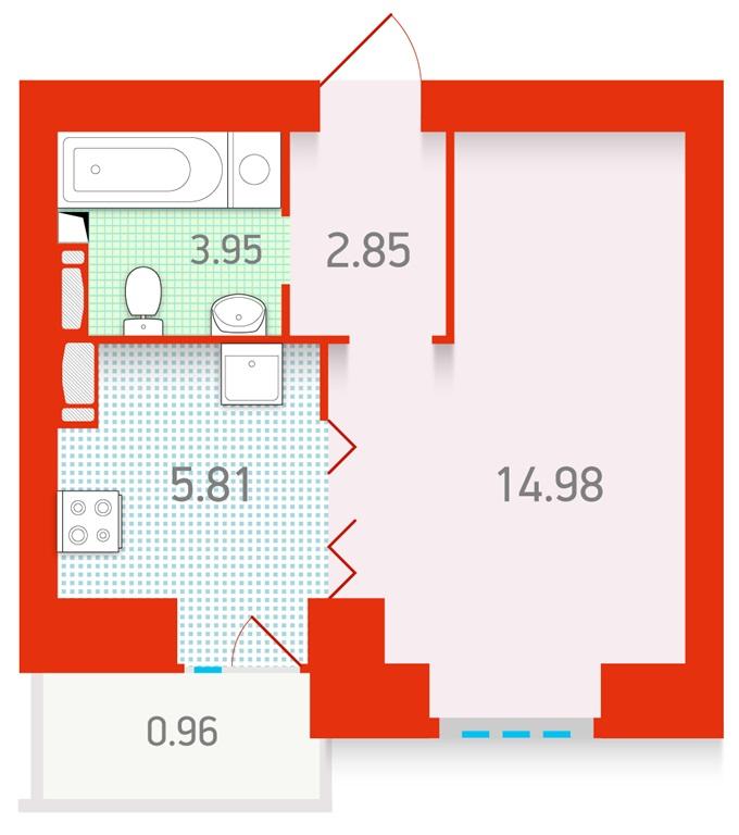 ЖК «Чарiвне мiсто» от Укрбуд планировка однокомнатной квартиры студио