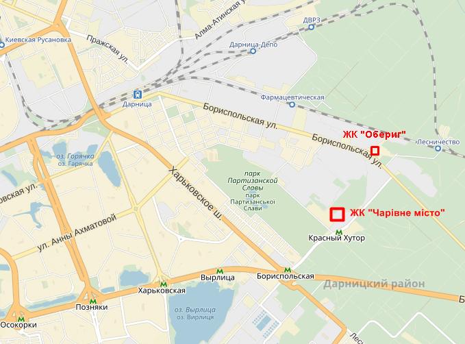 ЖК «Чарiвне мiсто» от Укрбуд на карте