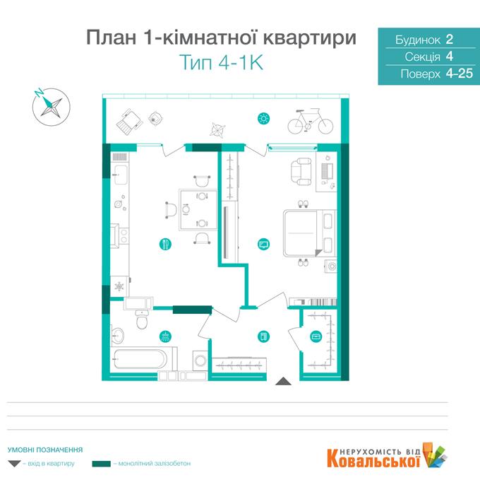 ЖК «Династия» от Ковальской планировка однокомнатной квартиры