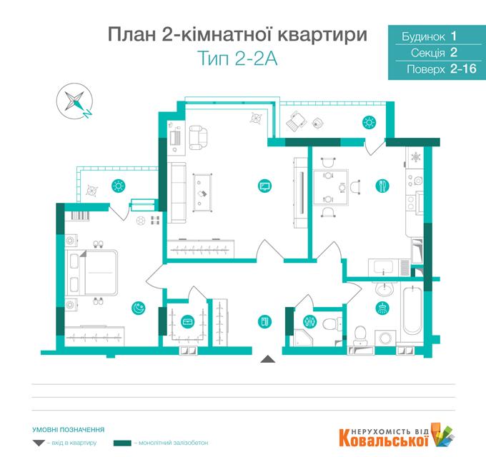 ЖК «Династия» от Ковальской планировка двухкомнатной квартиры