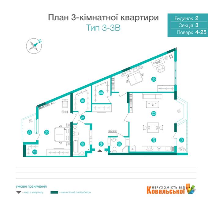 ЖК «Династия» от Ковальской планировка трехкомнатной квартиры