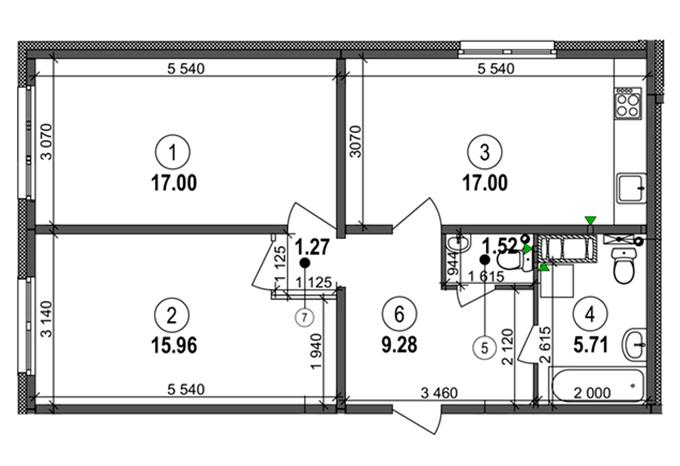 ЖК «На Ревуцкого» от Фундамента планировка двухкомнатной квартиры