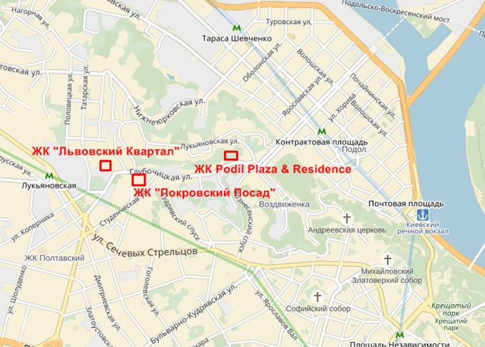 ЖК Подол Плаза энд Резиденс на карте