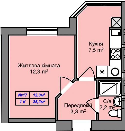 ЖК «Пражский Квартал-2» в Петропавловской Борщаговке планировка однокомнатной квартиры