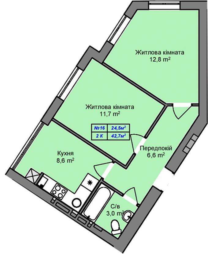 ЖК «Пражский Квартал-2» в Петропавловской Борщаговке планировка двухкомнатной квартиры