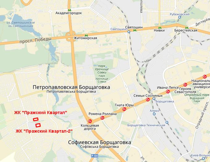 ЖК «Пражский Квартал-2» в Петропавловской Борщаговке на карте