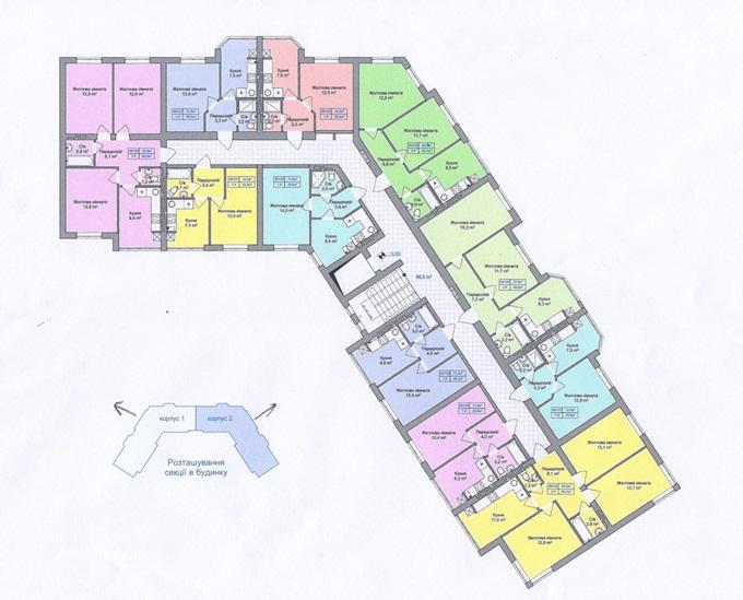 ЖК «Пражский Квартал-2» в Петропавловской Борщаговке поэтажный план