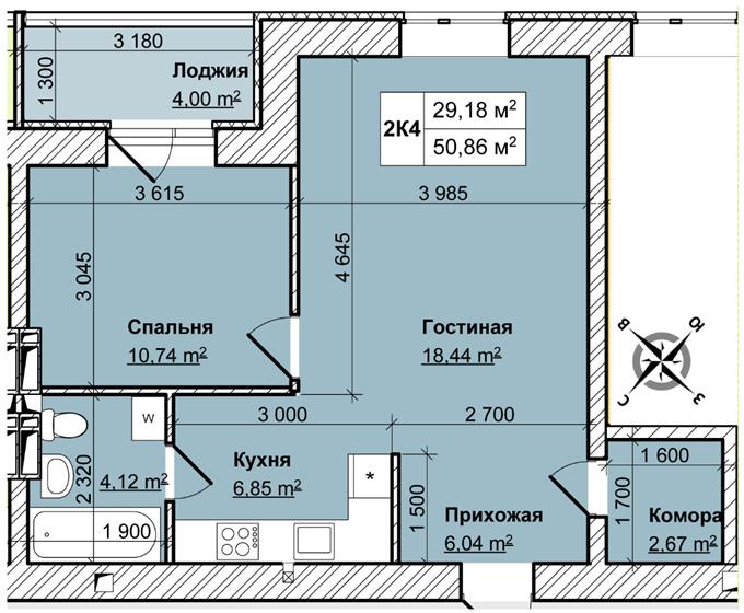 ЖК «Вышгород Сити Парк» планировка двухкомнатной квартиры