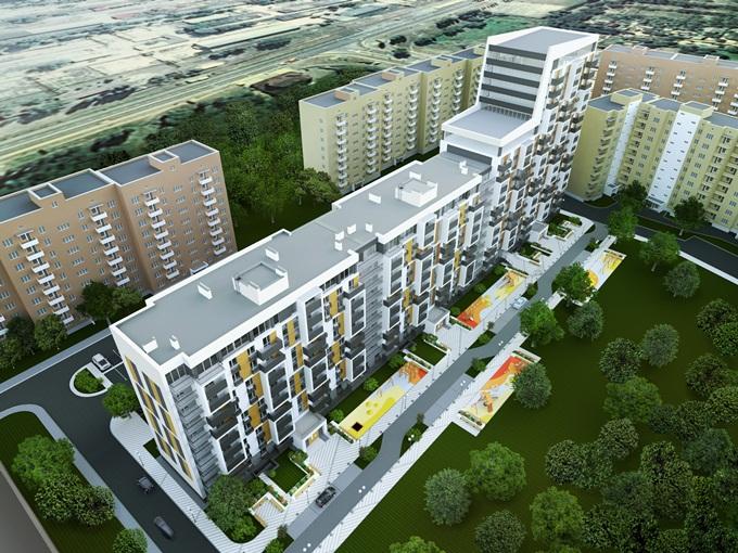 ЖК «Вышгород Сити Парк» визуализация весь дом сверху