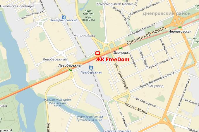 ЖК Фридом от УкрБуд на карте