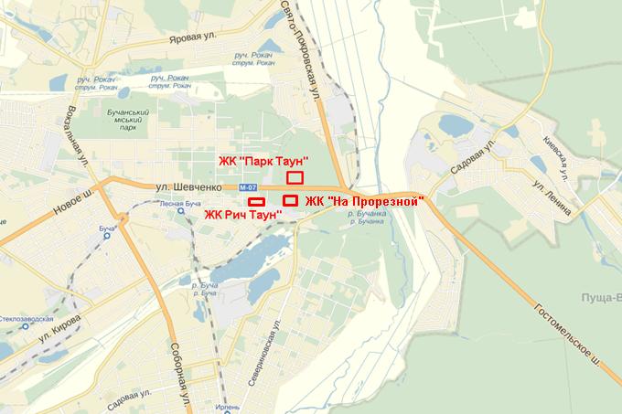 ЖК «На Прорезной» в Гостомеле на карте