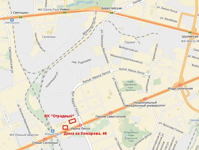 ЖК «Отрадный» от ИнтерГалБуд на карте
