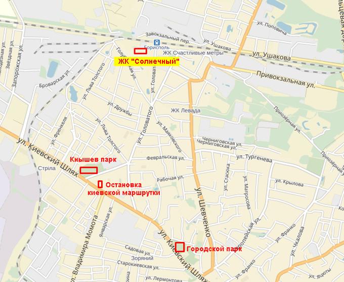 ЖК «Солнечный» в Борисполе на карте