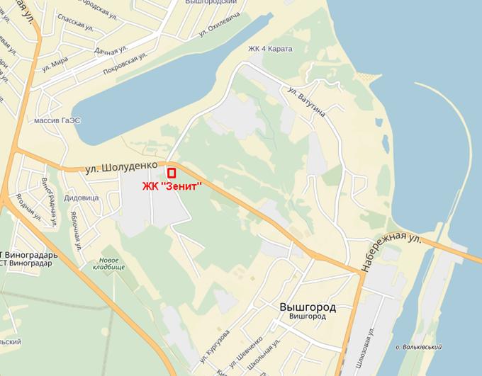 ЖК «Зенит» в Вышгороде на карте