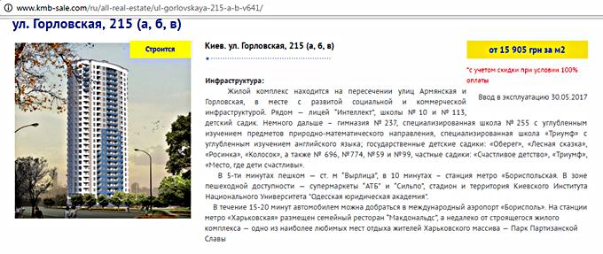 ЖК на Горловской, 215 (а, б, в) от КГС месторасположение