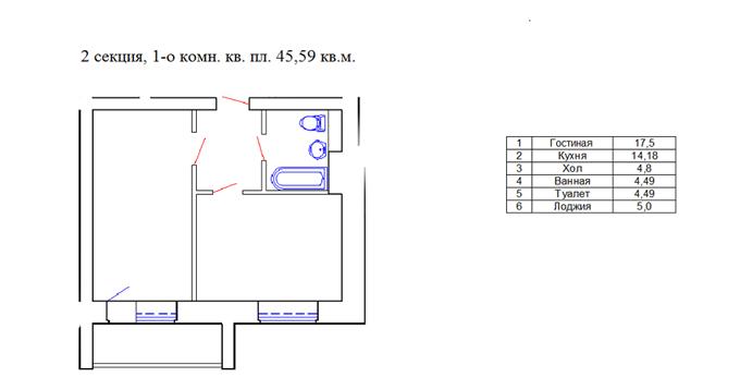 ЖК «Городок» от застройщика «Эркер» планировка однокомнатной квартиры
