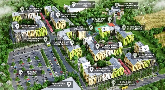 ЖК «Urban Ranch» в Чубинском  генеральный план