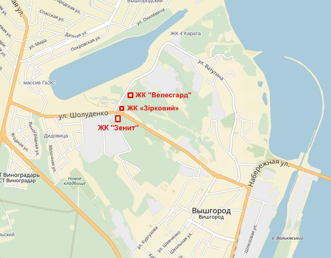 ЖК «Зірковий» в Вышгороде на карте