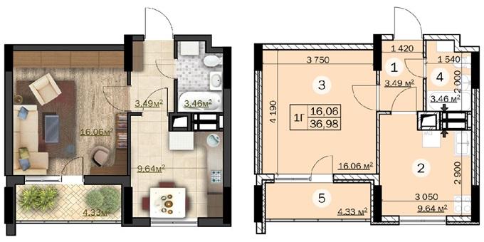 ЖК «Зірковий» в Вышгороде планировка однокомнатной квартиры