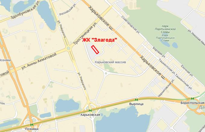 ЖК «Злагода» от Укрбуд на карте