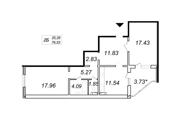 Год спустя: ЖК «Кристер Град» планировка двухкомнатной квартиры
