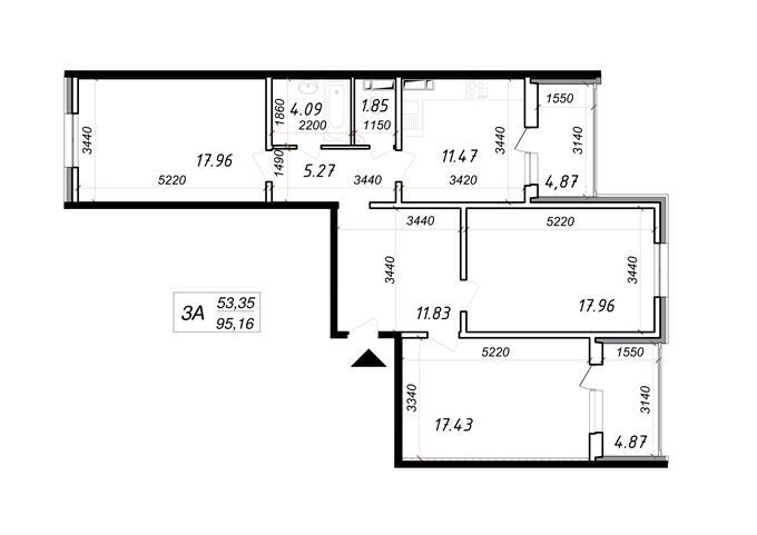 Год спустя: ЖК «Кристер Град» планировка трехкомнатной квартиры