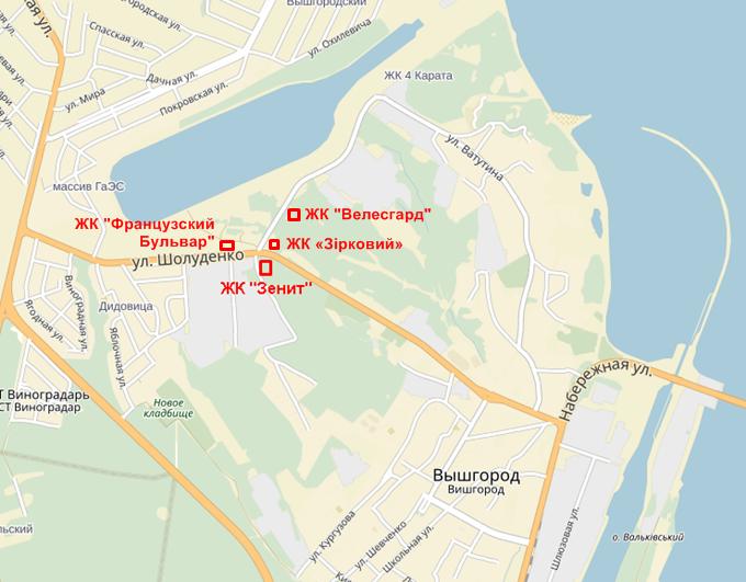 ЖК «Французский Бульвар» в Вышгороде на карте