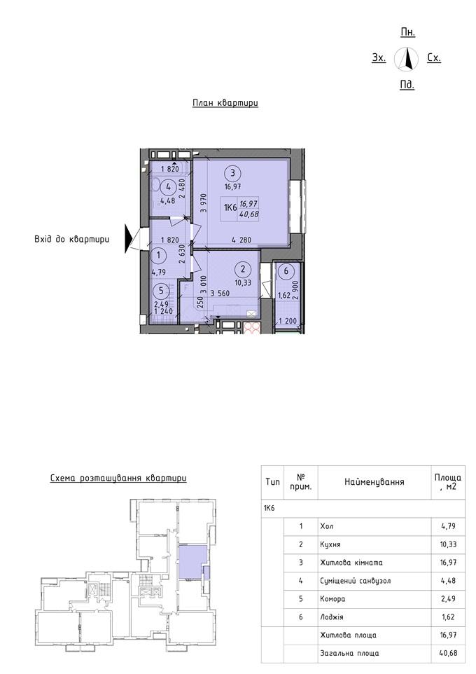 ЖК «Французский Бульвар» в Вышгороде планировка однокомнатной квартиры