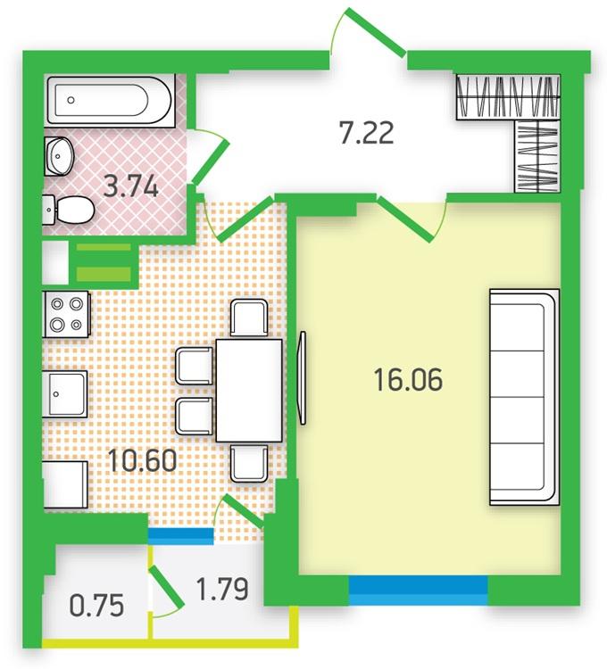 ЖК «Гармония» от УкрБуд планировка однокомнатной квартиры