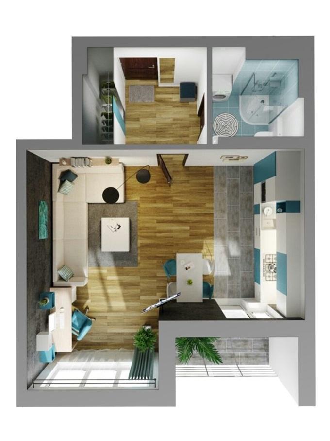 ЖК Каравай Тауер на Ушинского планировка однокомнатной квартиры студии