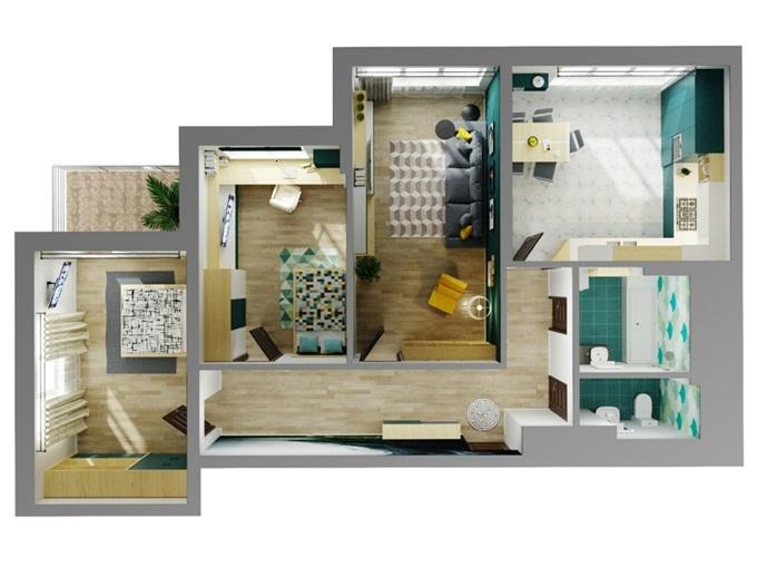 ЖК Каравай Тауер на Ушинского планировка трехкомнатной квартиры