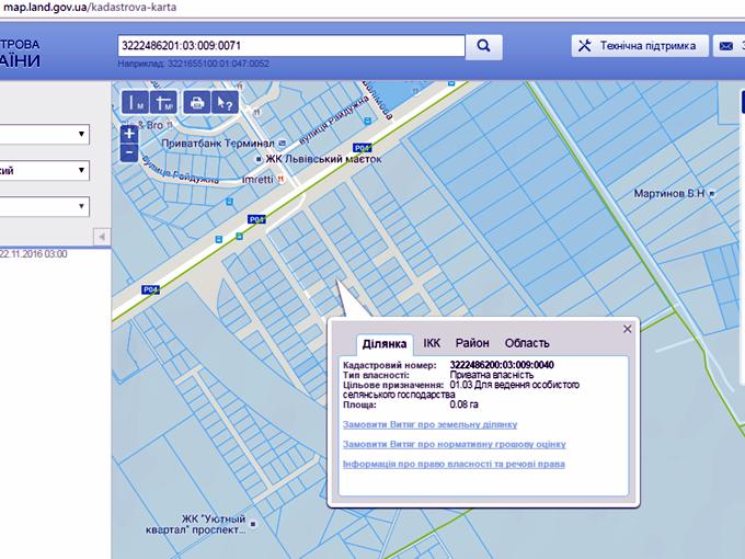 ЖК «Киевский Маеток» в Софиевской Борщаговке кадастровая карта