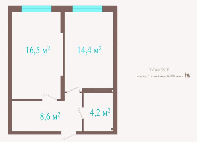 ЖК «Метрополия» планировка однокомнатной квартиры