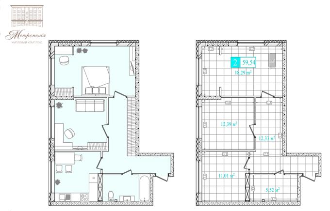 ЖК «Метрополия» планировка двухкомнатной квартиры