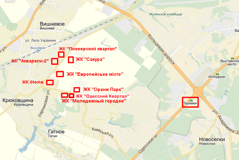 ЖК «Одесский Квартал» в Крюковщине на карте