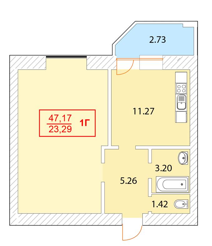 ЖК «Одесский Квартал» в Крюковщине планиповка однокомнатной квартиры