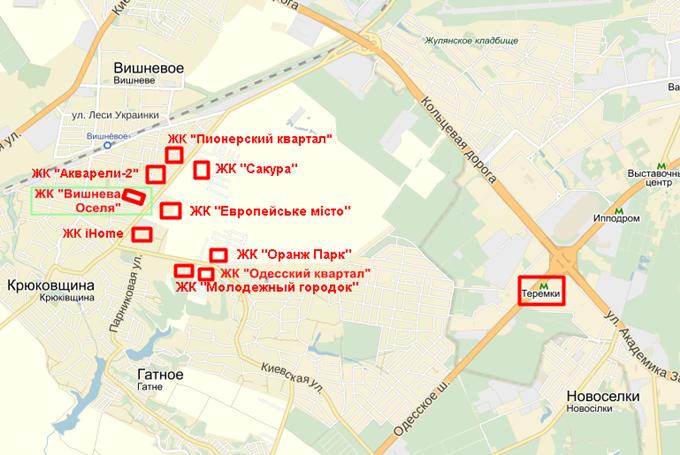 ЖК «Вишнева оселя» в Крюковщине на карте