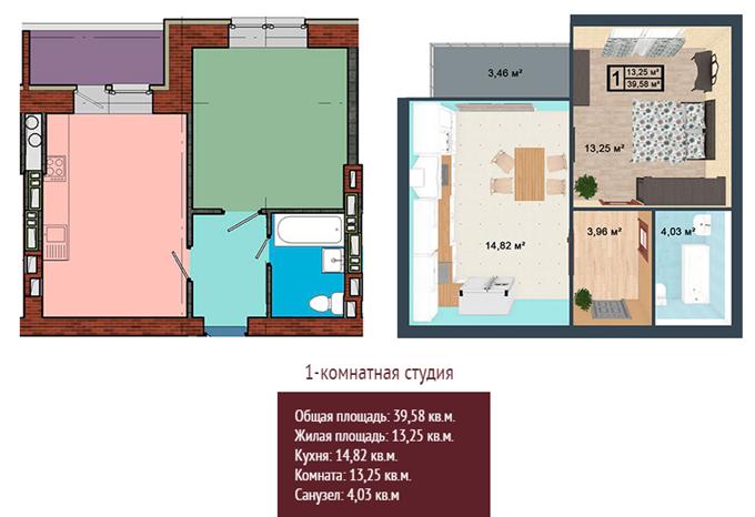 ЖК «Вишнева оселя» в Крюковщине планировка однокомнатной квартиры