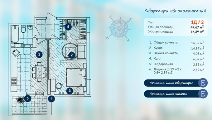 ЖК «Автограф» планировка однокомнатной квартиры