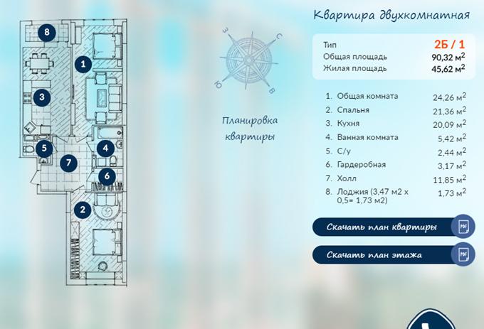ЖК «Автограф» планировка двухкомнатной квартиры