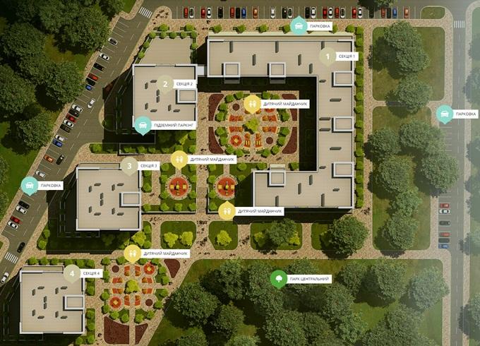 ЖК «Чехов Парк Квартал» в Ирпене генеральный план