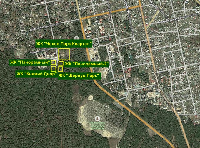 ЖК «Чехов Парк Квартал» в Ирпене инфраструктура на карте