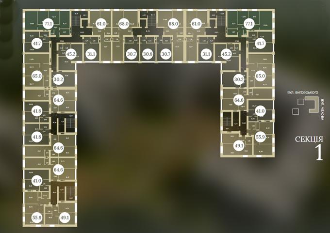 ЖК «Чехов Парк Квартал» в Ирпене поэтажный план 10 этажного дома