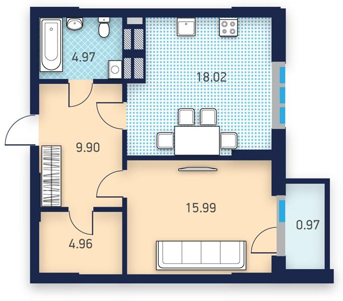 ЖК Лейк Хаус от УкрБуд планировка однокомнатной квартиры