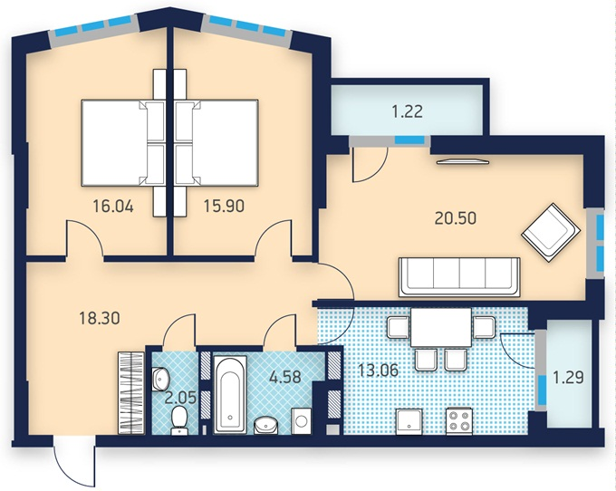ЖК Лейк Хаус от УкрБуд планировка трехкомнатной квартиры
