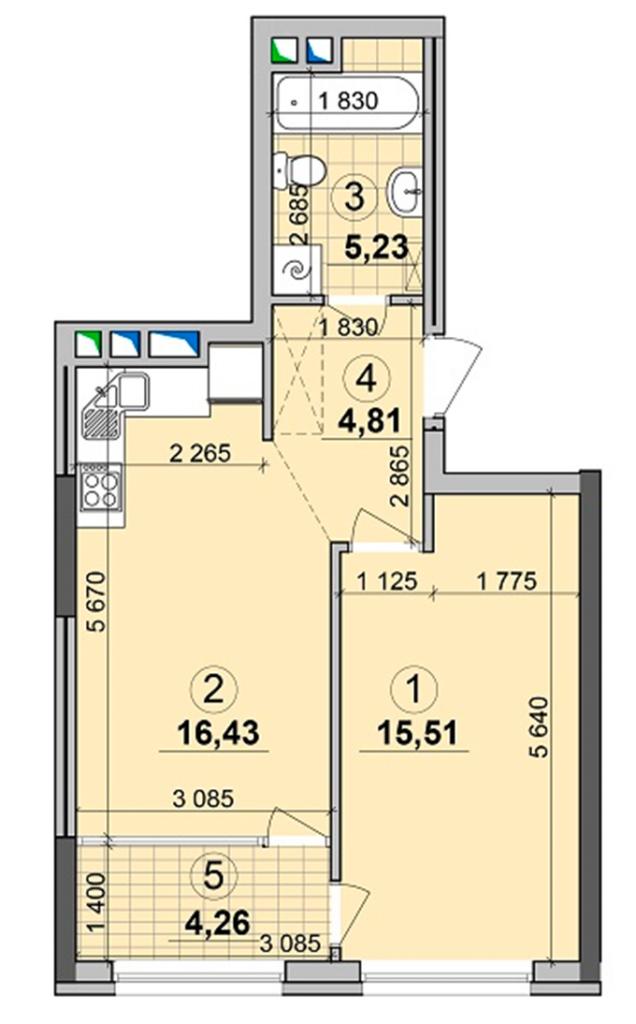 ЖК Seven планировка однокомнатной квартиры