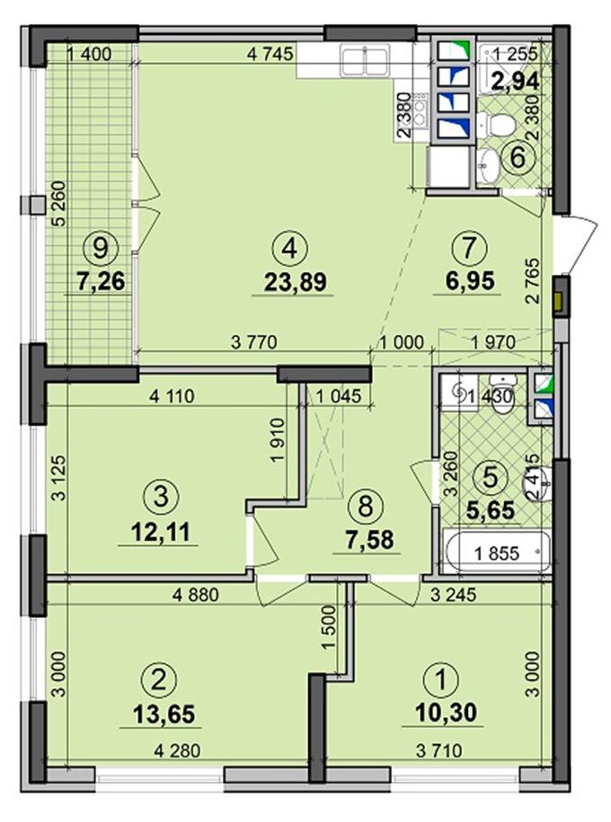 ЖК Seven планировка трехкомнатной квартиры