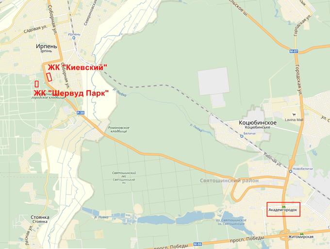ЖК Шервуд Парк в Ирпене на карте