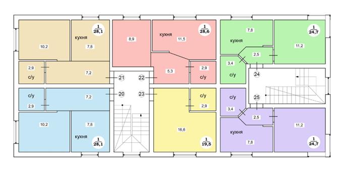 ЖК «Дания» в Софиевской Борщаговке поэтажный план смарт квартиры