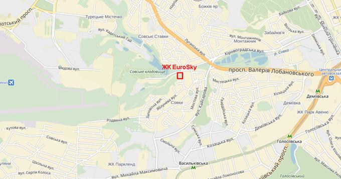 ЖК ЕвроСкай на Крутогорной на карте
